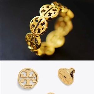 Tory Burch Gold Logo ring and earrings